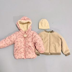 Bundle of Two Girl toddler Jacket Puffer and Hat